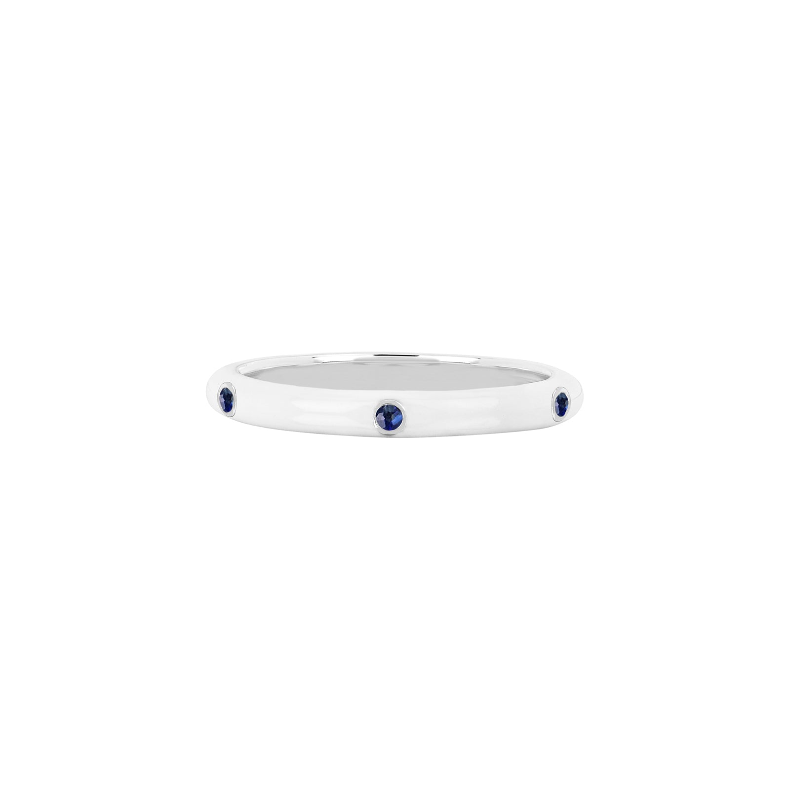 EF Collection Blue Sapphire White Enamel Ring - White Gold - Rings - Broken English Jewelry