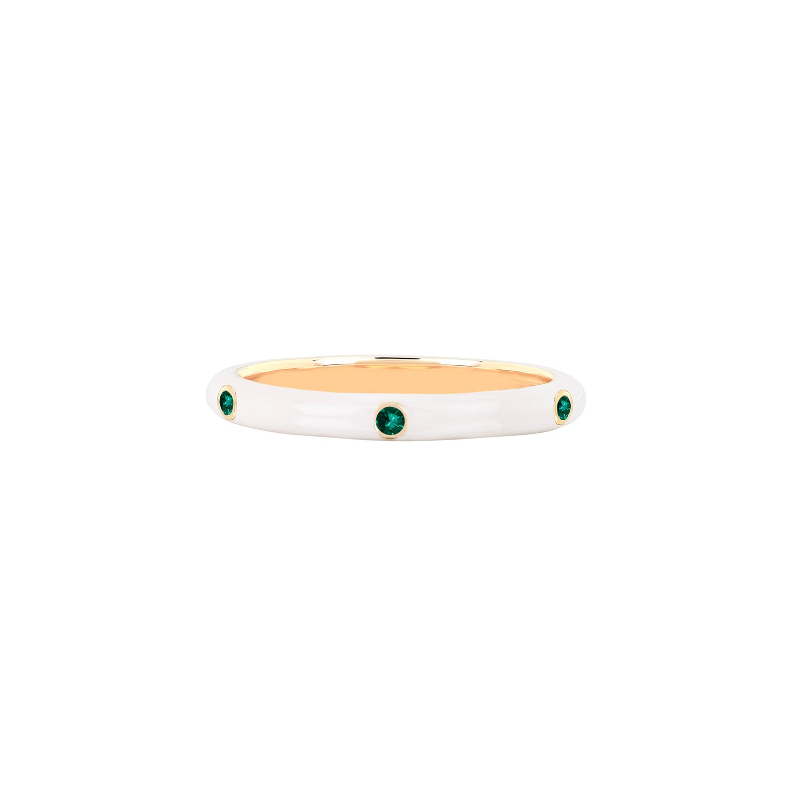 EF Collection Tsavorite White Enamel Ring - Yellow Gold - Rings - Broken English Jewelry