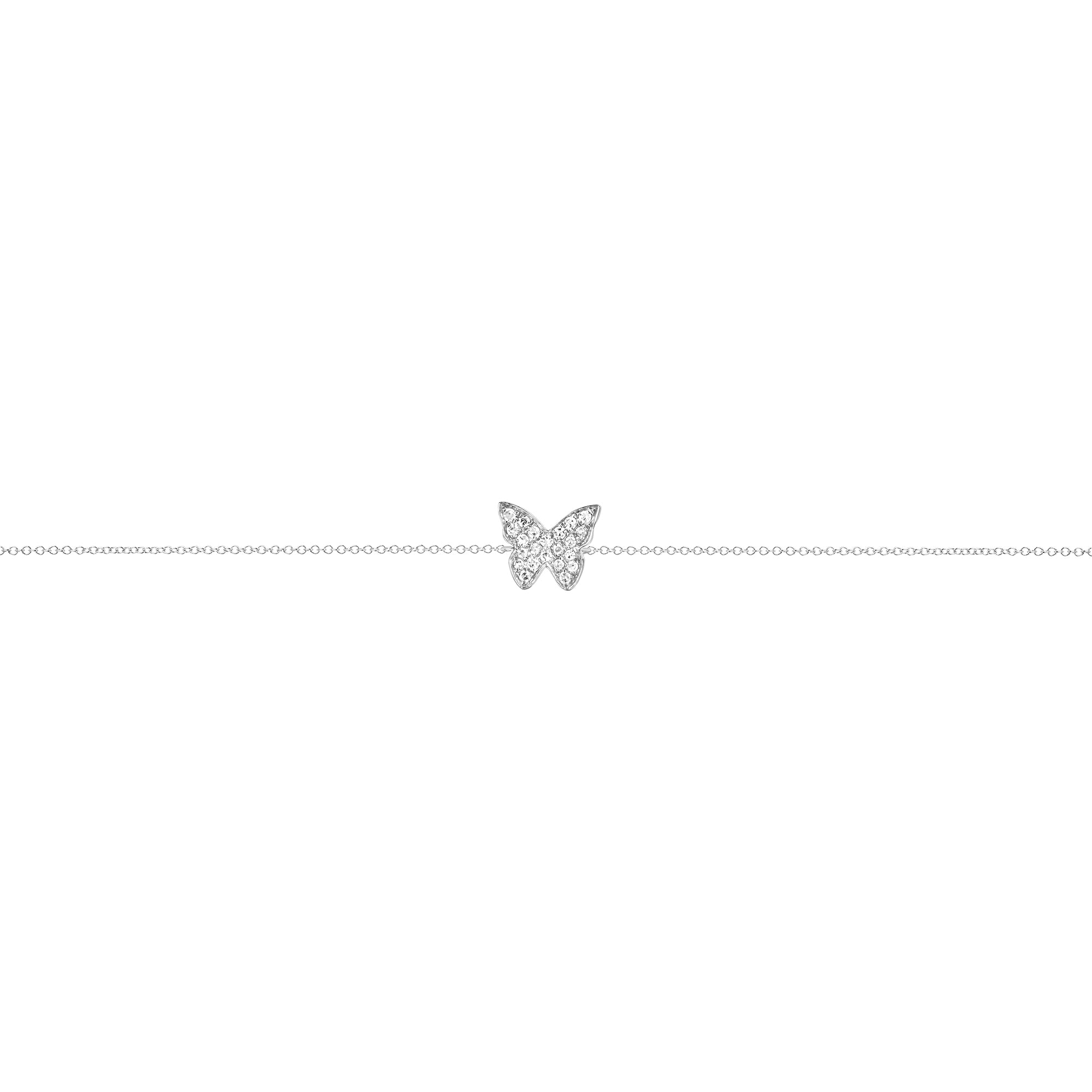 EF Collection Diamond Butterfly Bracelet - White Gold - Bracelets - Broken English Jewelry