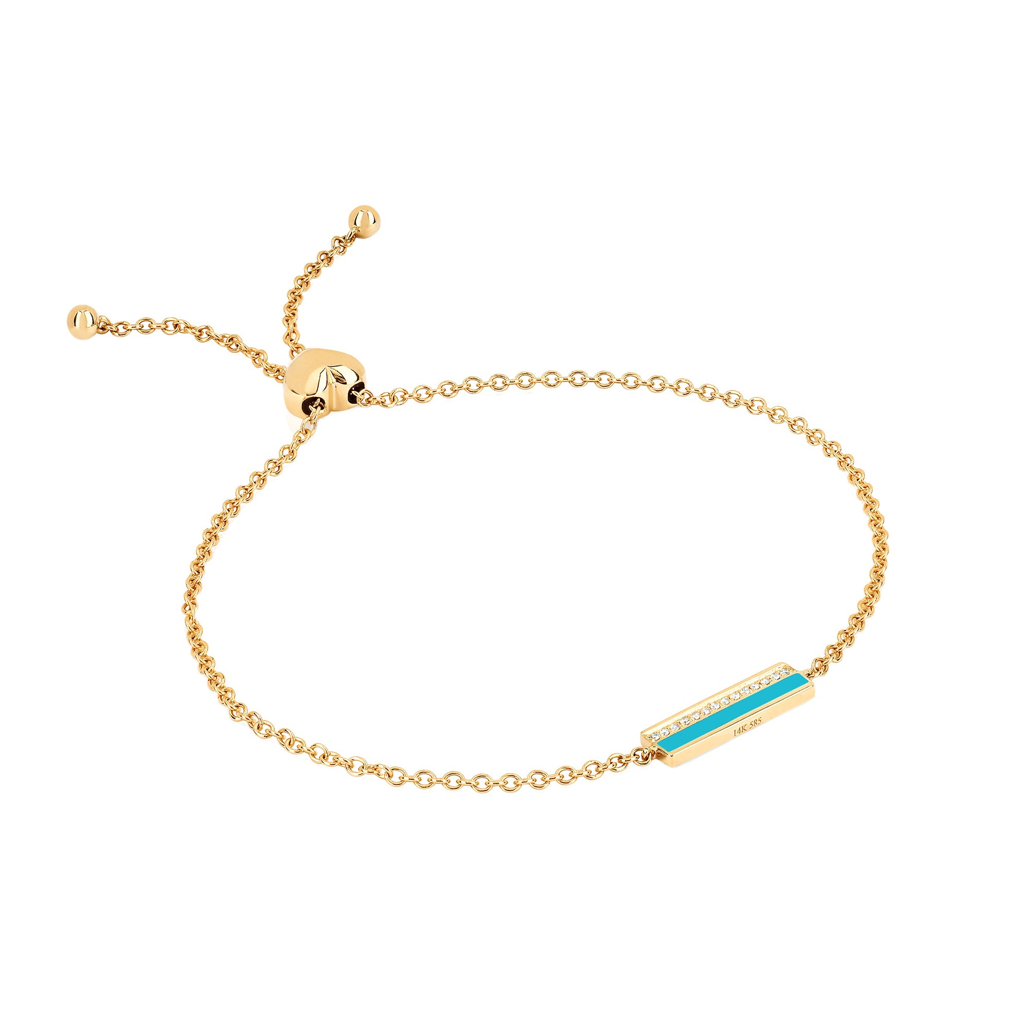 Turquoise Bar Chain Bracelet by EF Collection for Broken English Jewelry