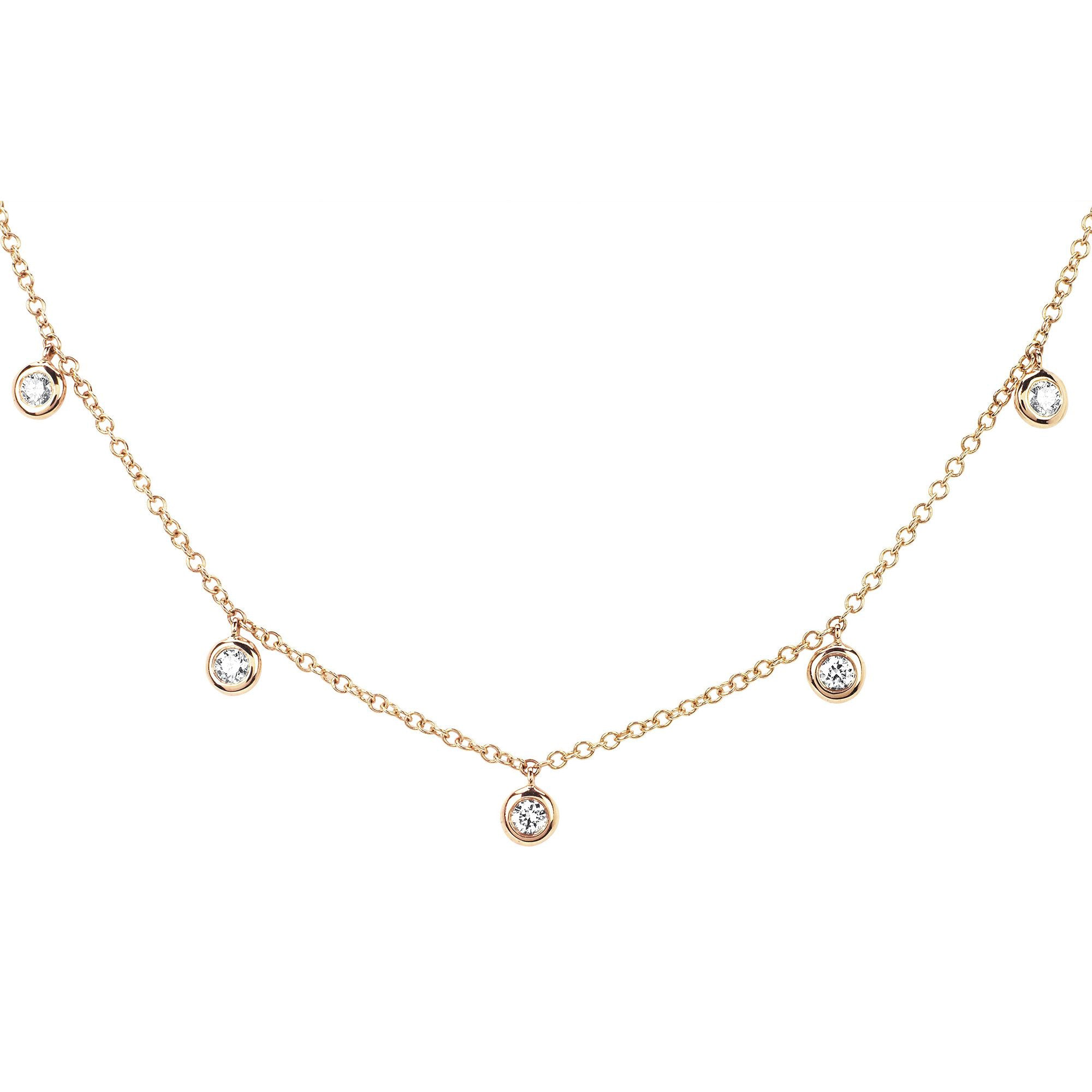 5 Diamond Bezel Choker Necklace by EF Collection for Broken English Jewelry