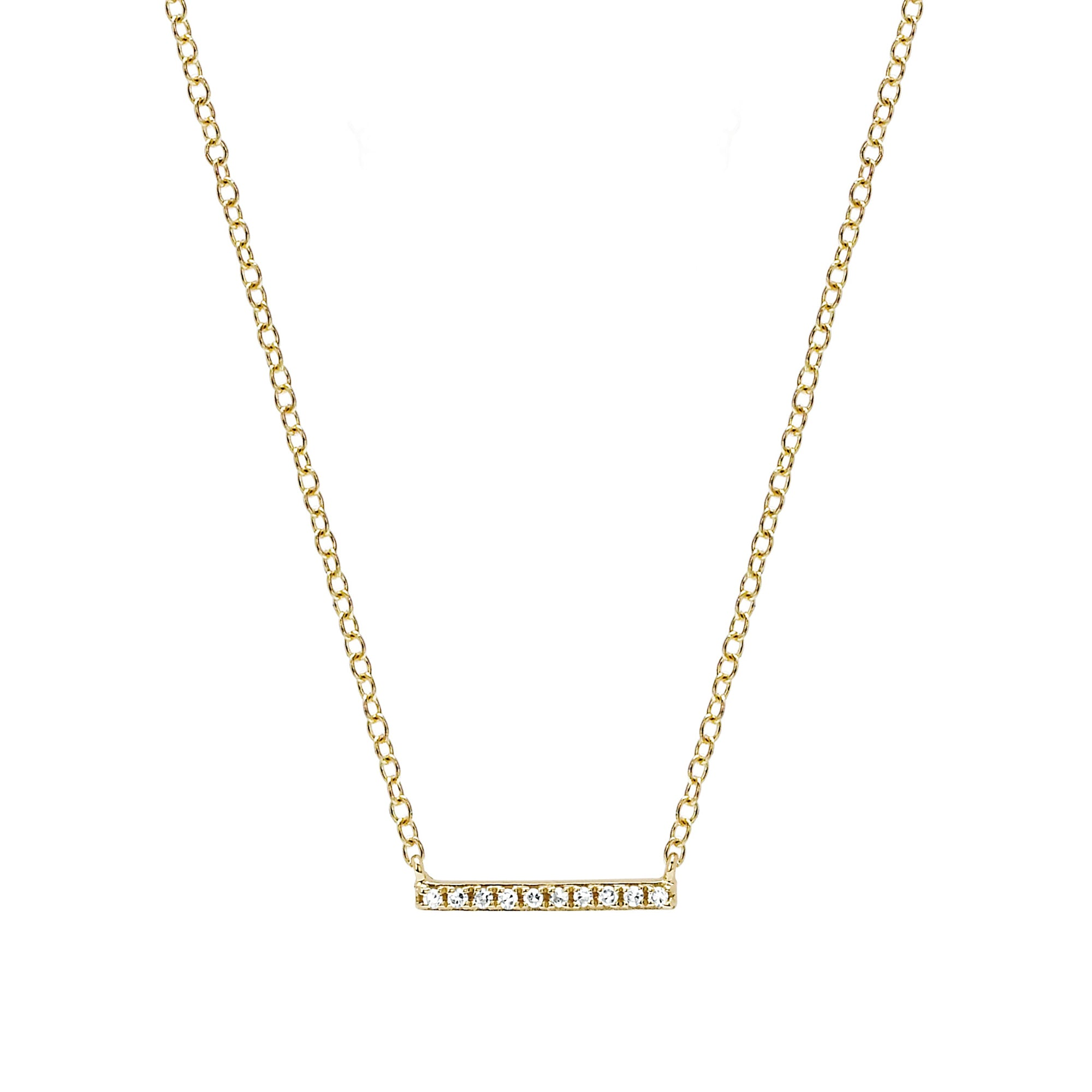 Mini Diamond Bar Necklace by EF Collection for Broken English Jewelry