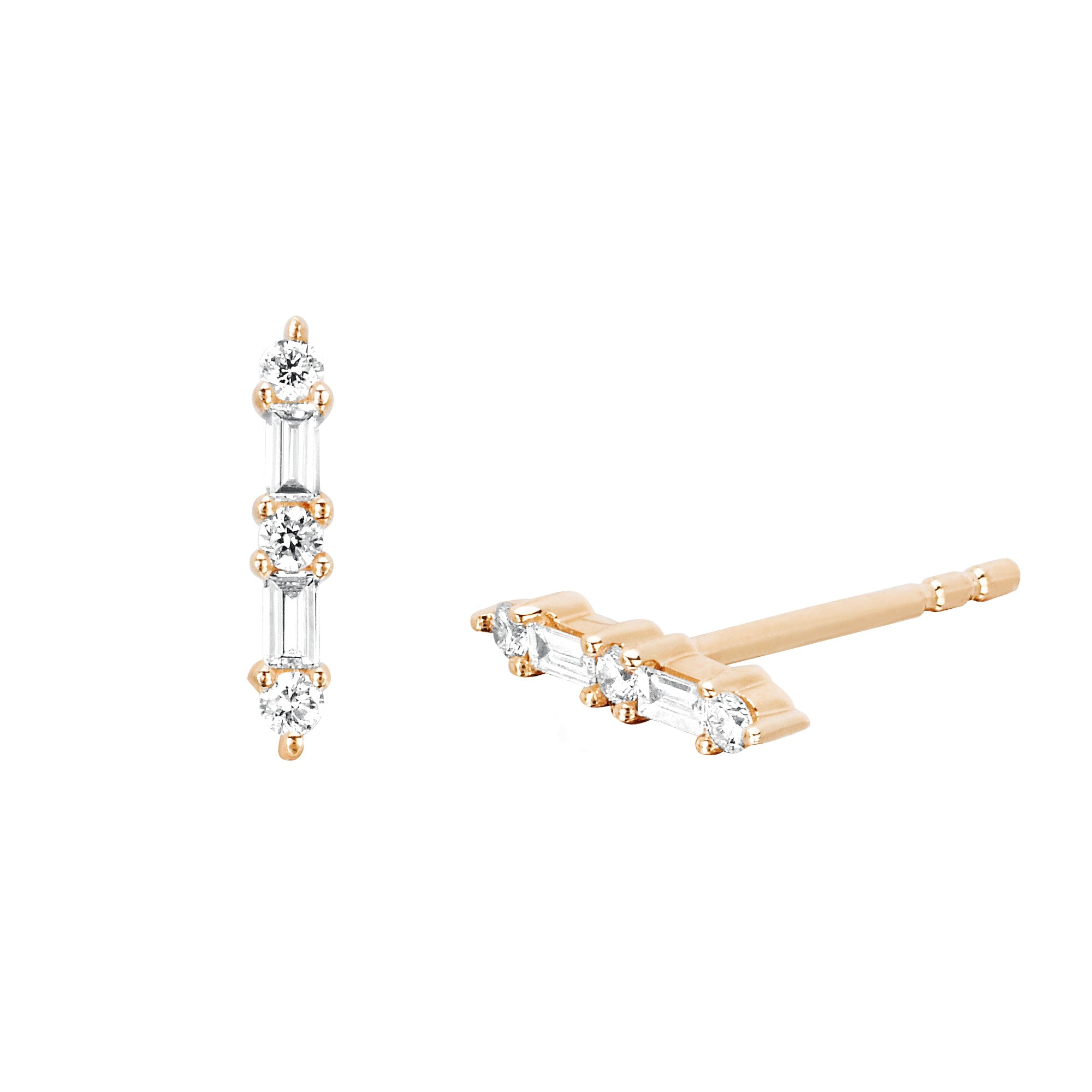 Baguette and Prong Set Bar Stud by EF Collection for Broken English Jewelry