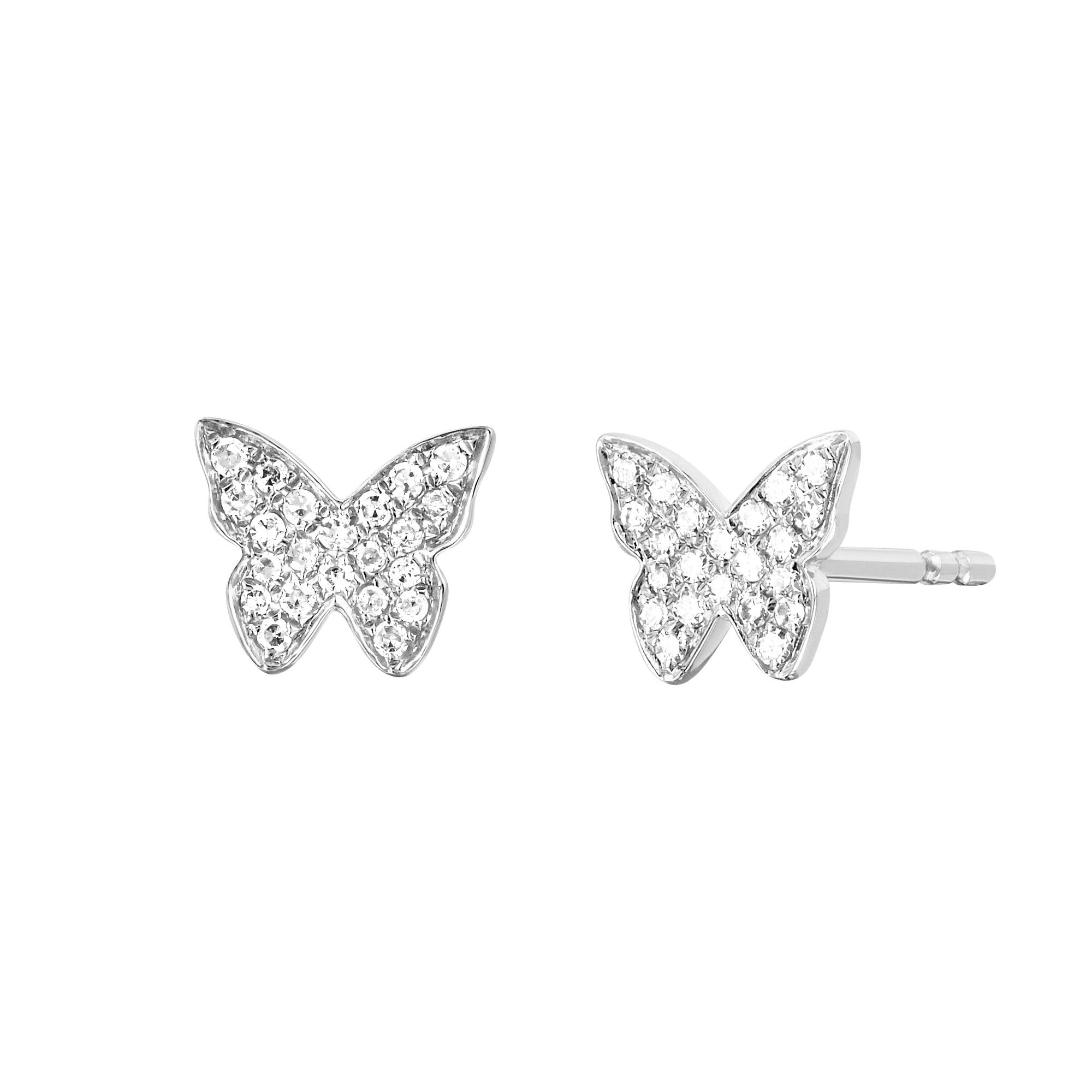 Diamond Butterfly Studs by EF Collection for Broken English Jewelry