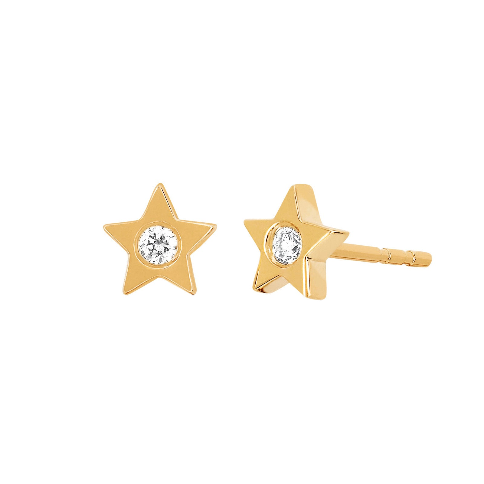 Gold and Diamond Star Studs by EF Collection for Broken English Jewelry