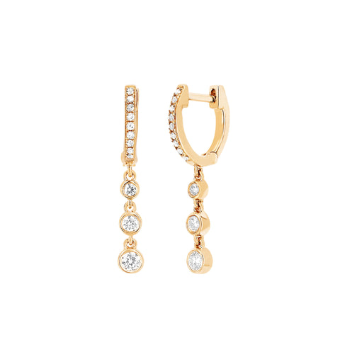 3 Bezel Diamond Drop Huggies by EF Collection for Broken English Jewelry