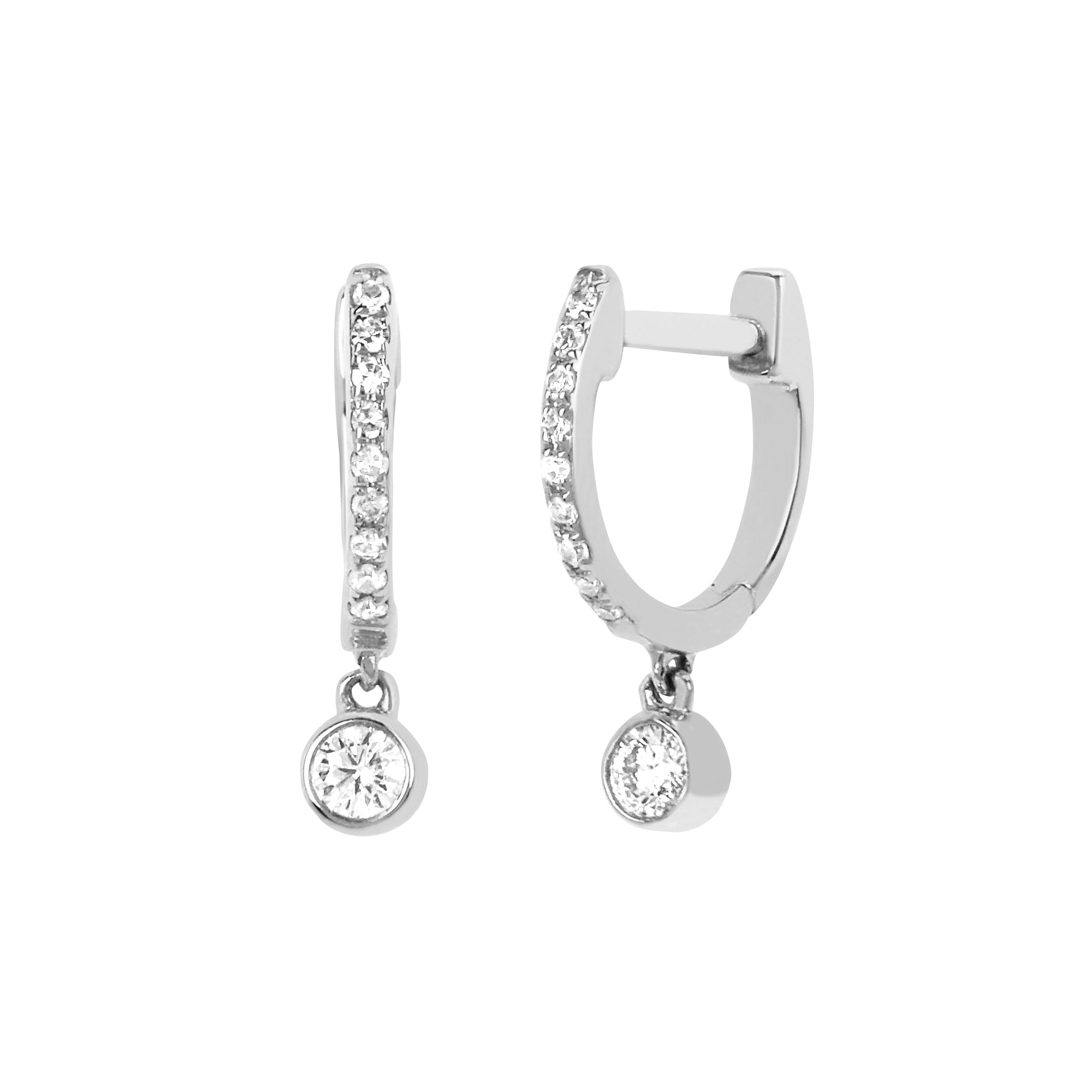 Mini Huggie Bezel Drop by EF Collection for Broken English Jewelry