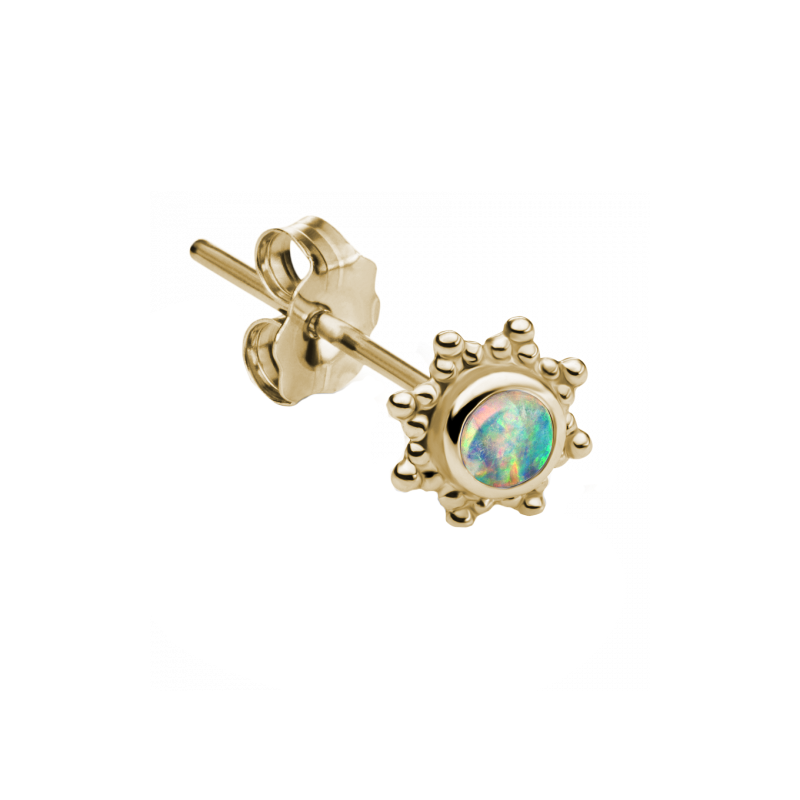 Maria Tash Opal Stud 3mm - Gold - Earrings - Broken English Jewelry