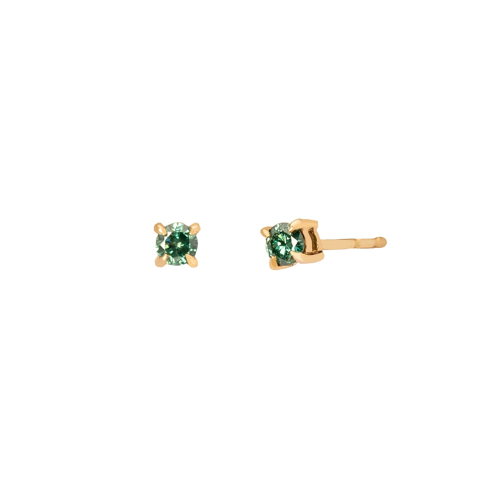 YI Collection Green Diamond Studs - Earrings - Broken English Jewelry
