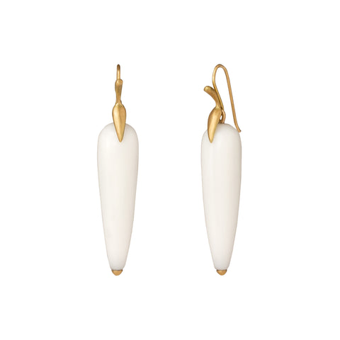 White Agate Simple Egret Earrings