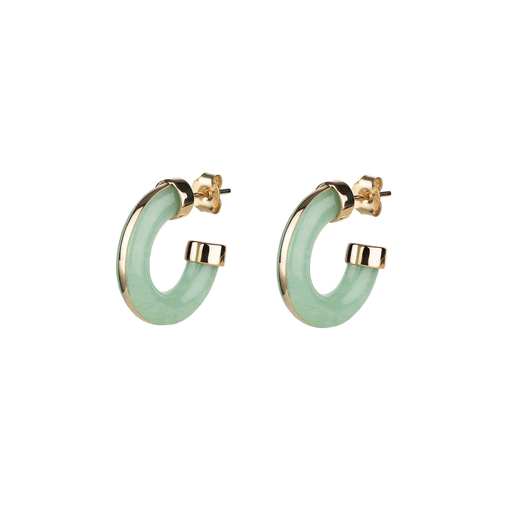 By Pariah Essential Hoops - Green Aventurine - Earrings - Broken English Jewelry