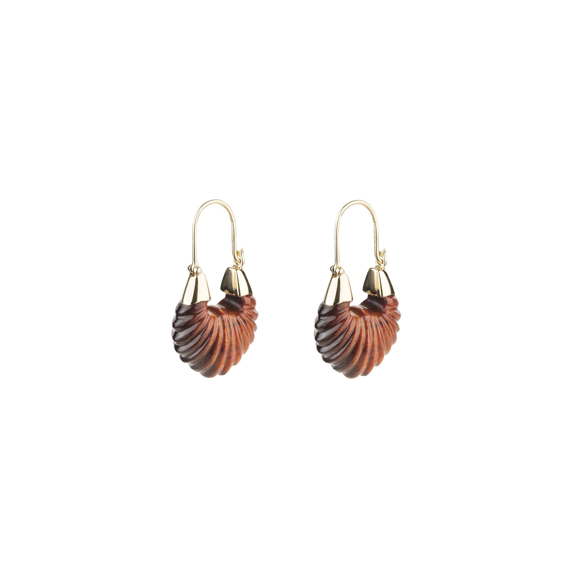 By Pariah Lunula Earrings - Red Tiger Eye - Earrings - Broken English Jewelry