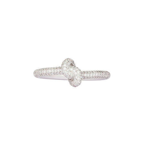 Diamond White Slim Knot Ring - Engelbert - Rings | Broken English Jewelry