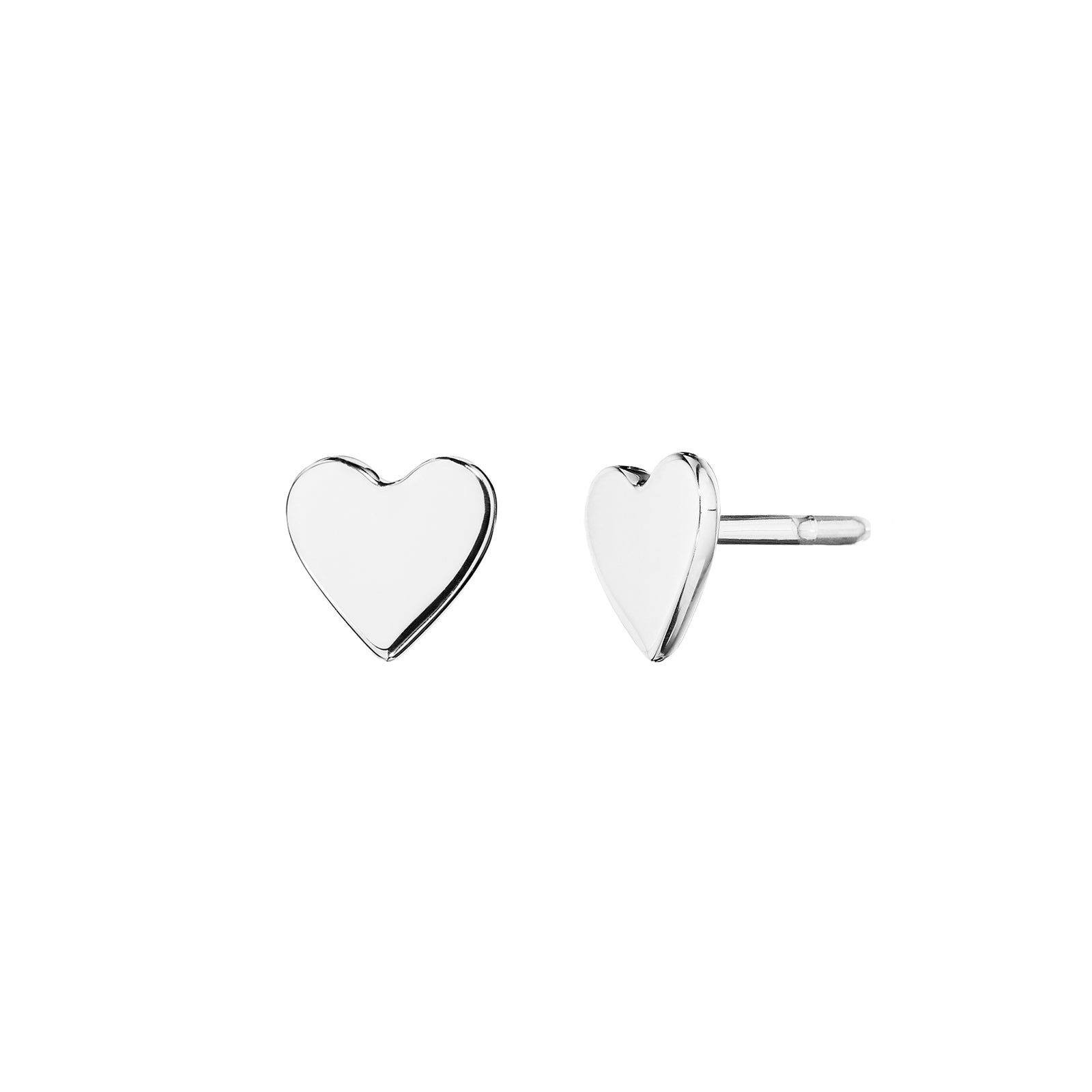 Cadar Wings of Love Small Heart Studs - White Gold - Earrings - Broken English Jewelry
