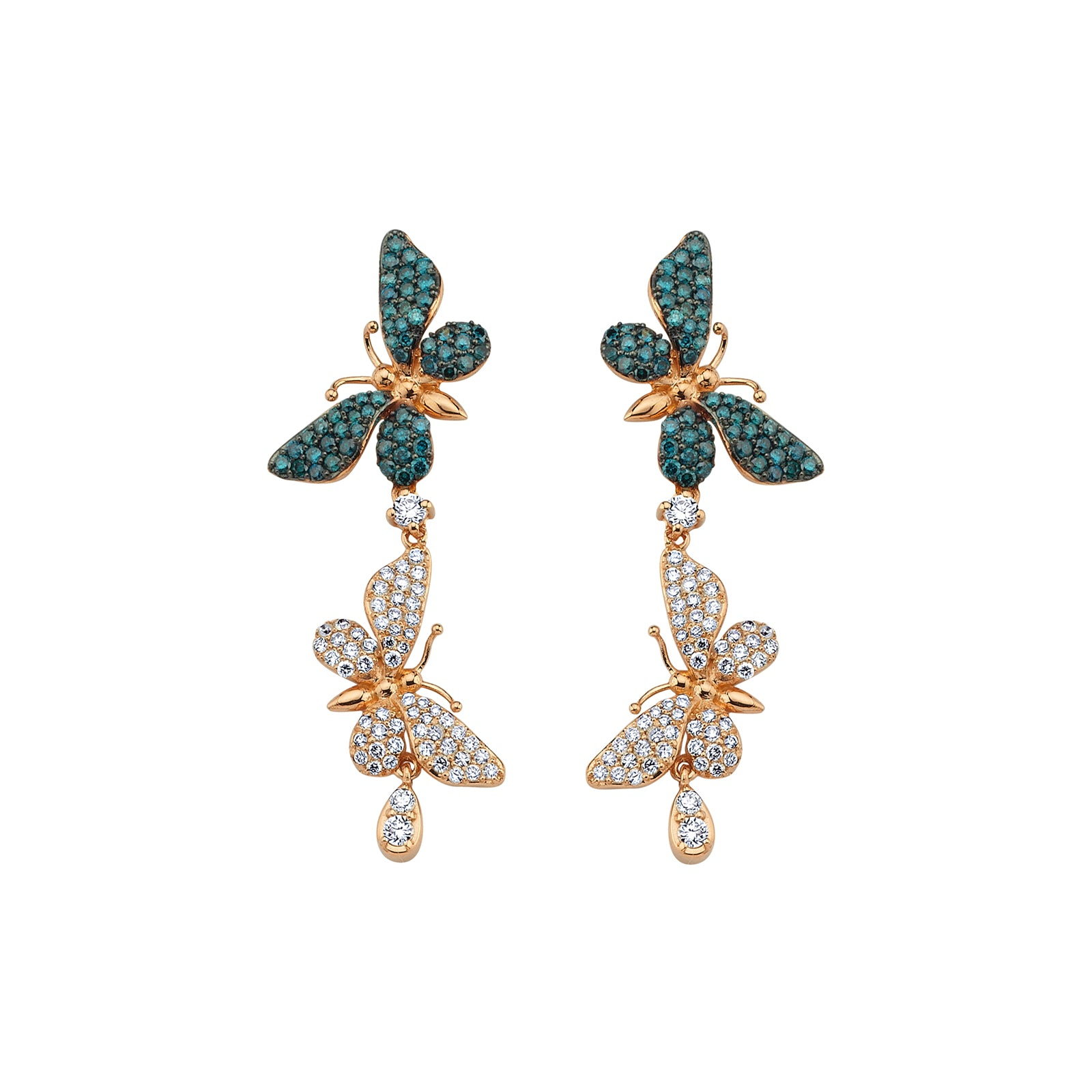 Aida Bergsen Short Flutter Earrings - Blue Diamond - Earrings - Broken English Jewelry