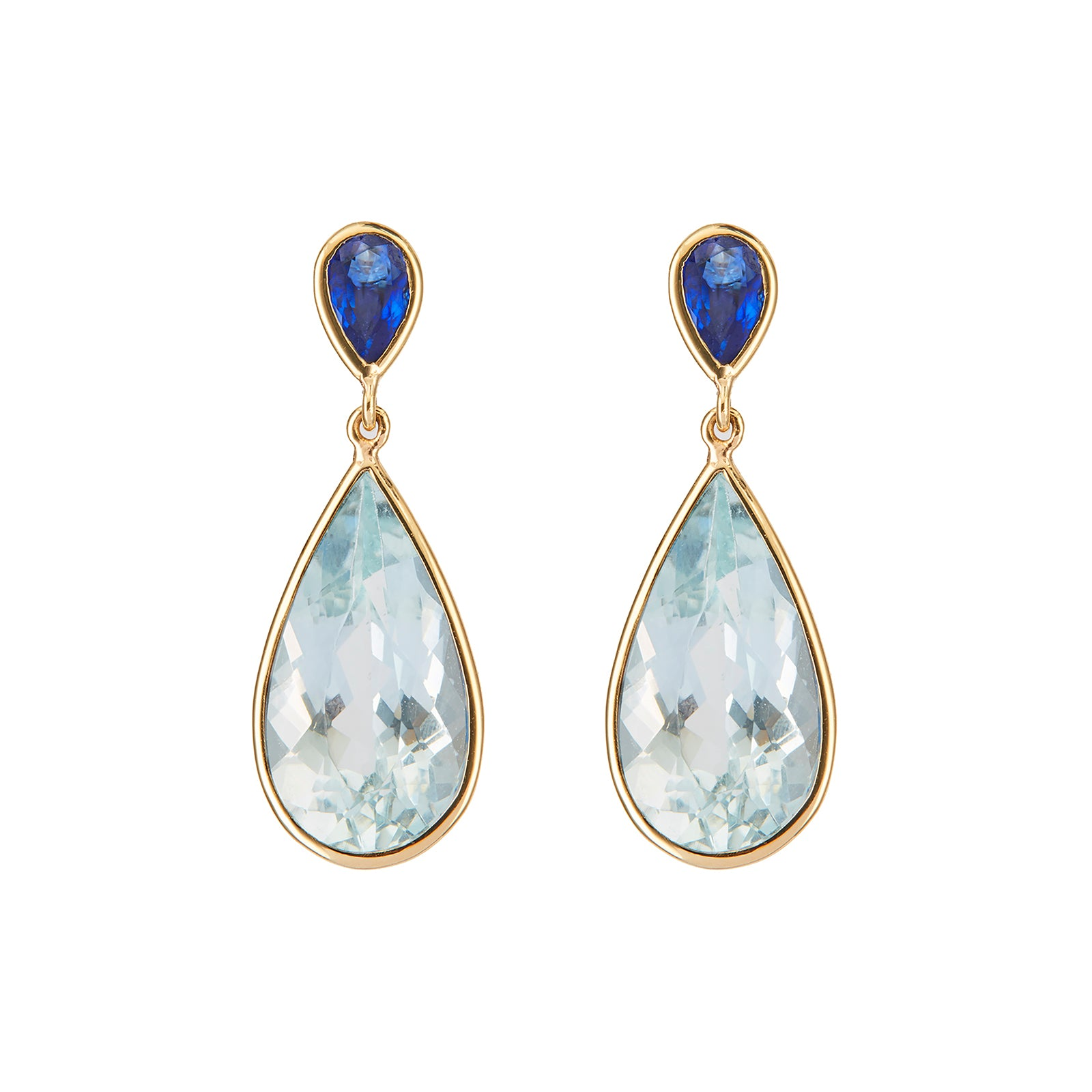 YI Collection Pear Earrings - Sapphire & Aquamarine - Earrings - Broken English Jewelry