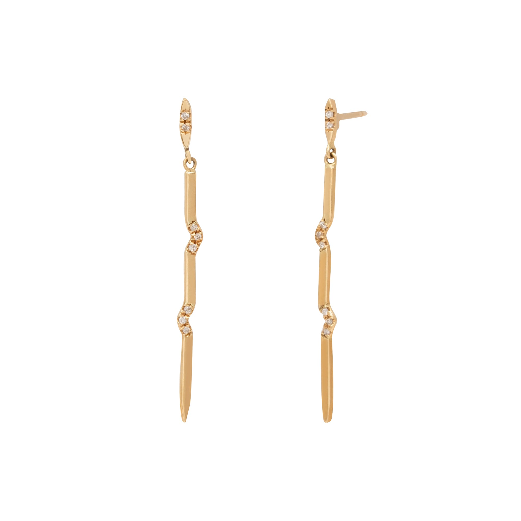 Xiao Wang Long Gravity Earrings - Champagne & Pave Diamonds - Earrings - Broken English Jewelry