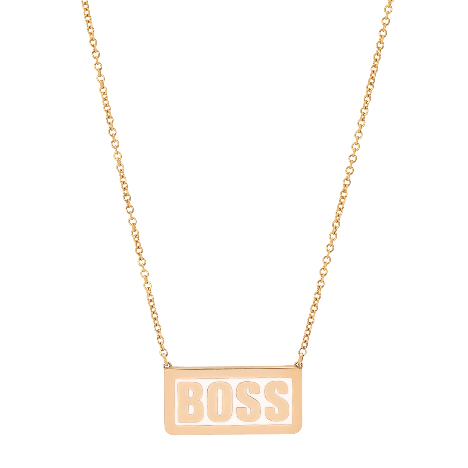 Established Jewelry Boss Enamel Plate Necklace - White - Necklaces - Broken English Jewelry