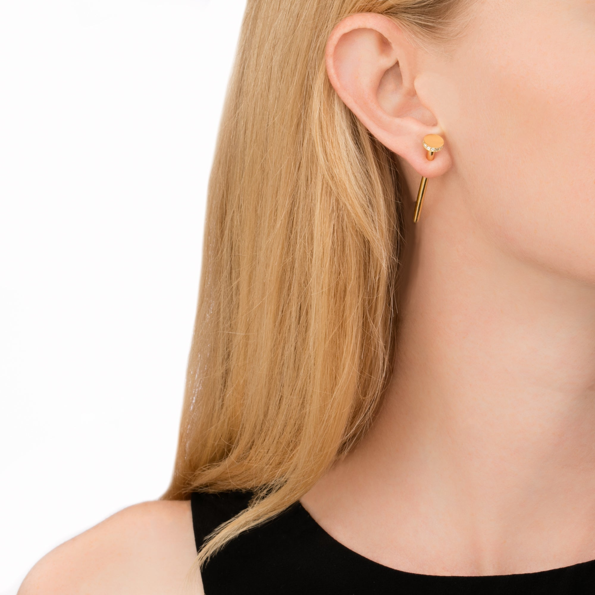 Gold Nail Earring by Established for Broken English Jewelry