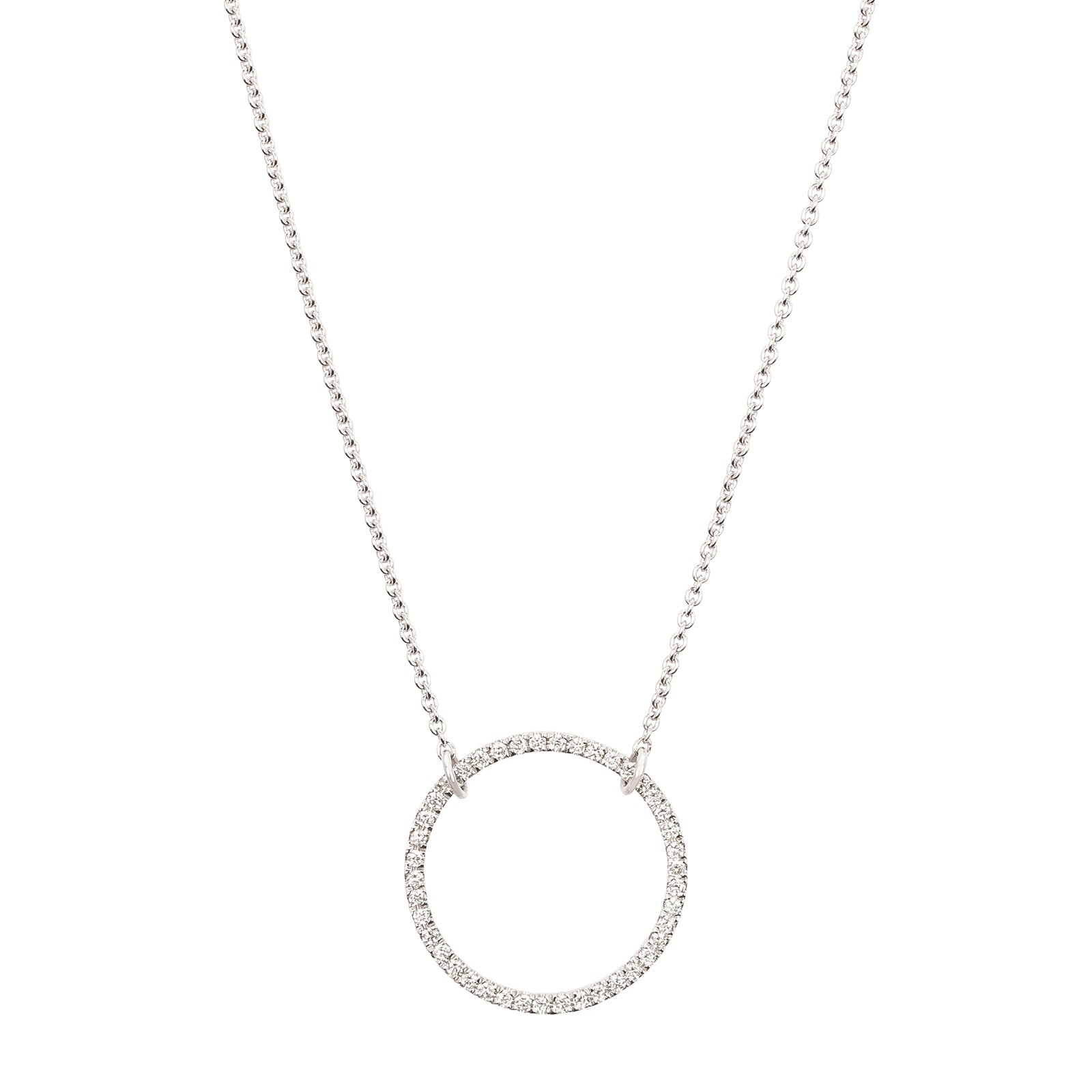 Rosa de la Cruz Small Eternity Circle Charm Necklace - White Gold - Necklaces - Broken English Jewelry