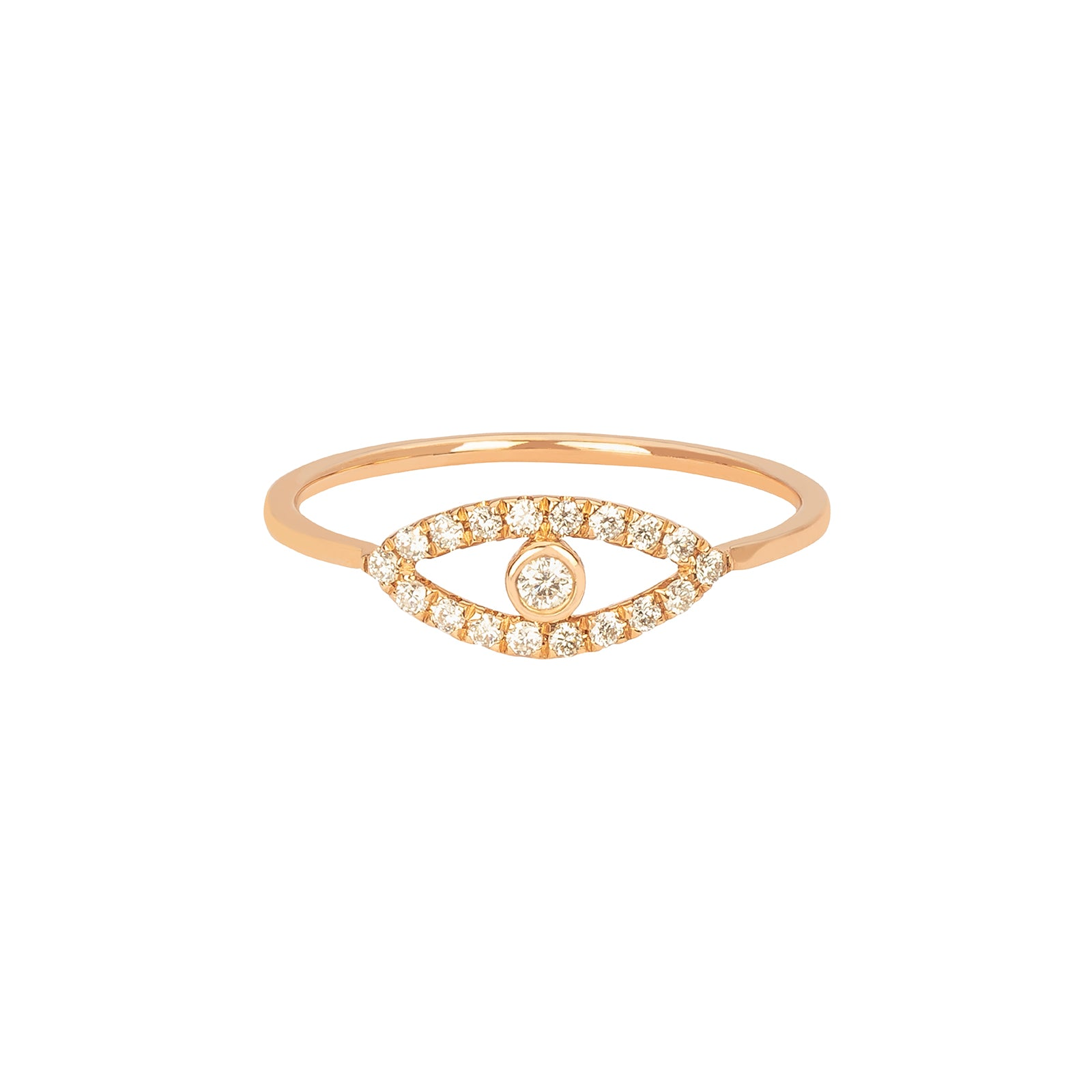 Rosa de la Cruz Diamond Eye Charm Ring - Rose Gold - Rings - Broken English Jewelry