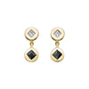 Black Diamond Double Medallion Earrings  - Ilene Joy - Earrings | Broken English Jewelry