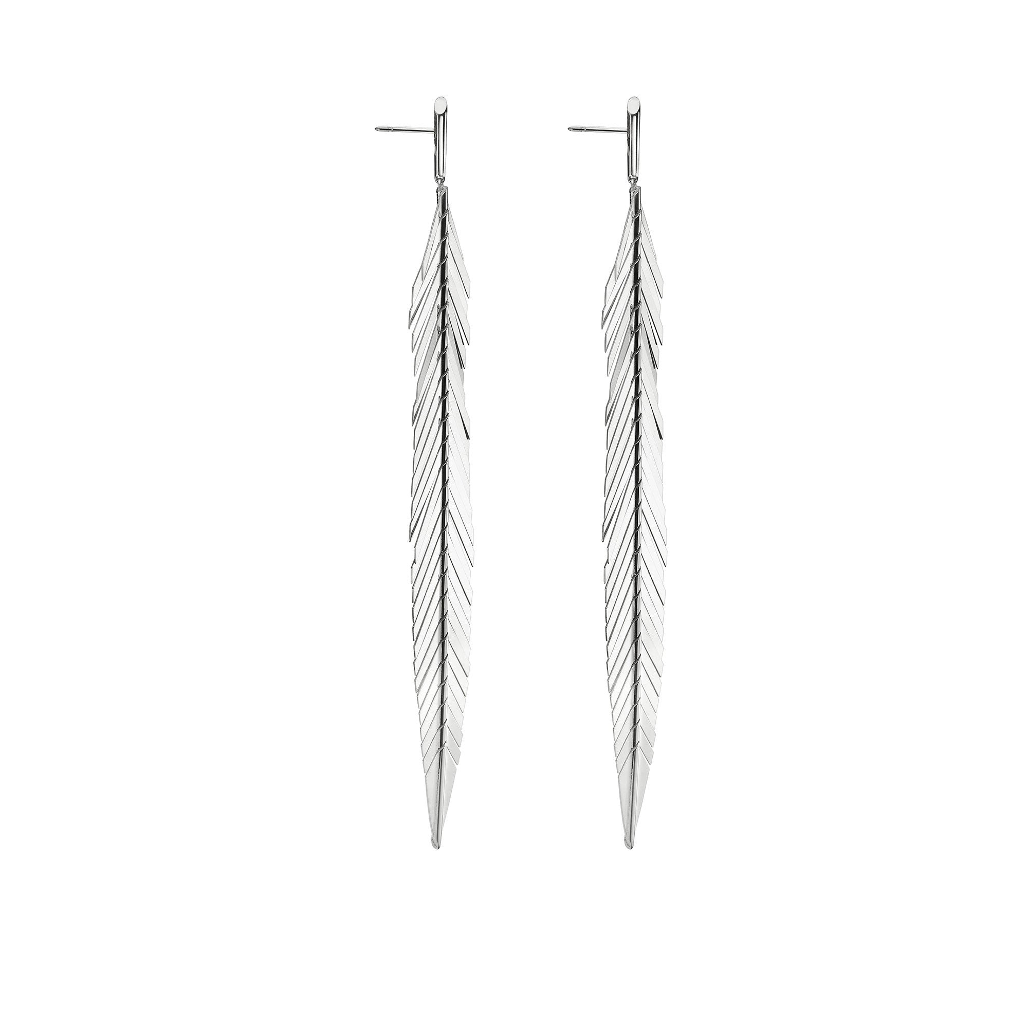 Large White Gold Feather Earrings - Cadar - Earrings | Broken English Jewelry