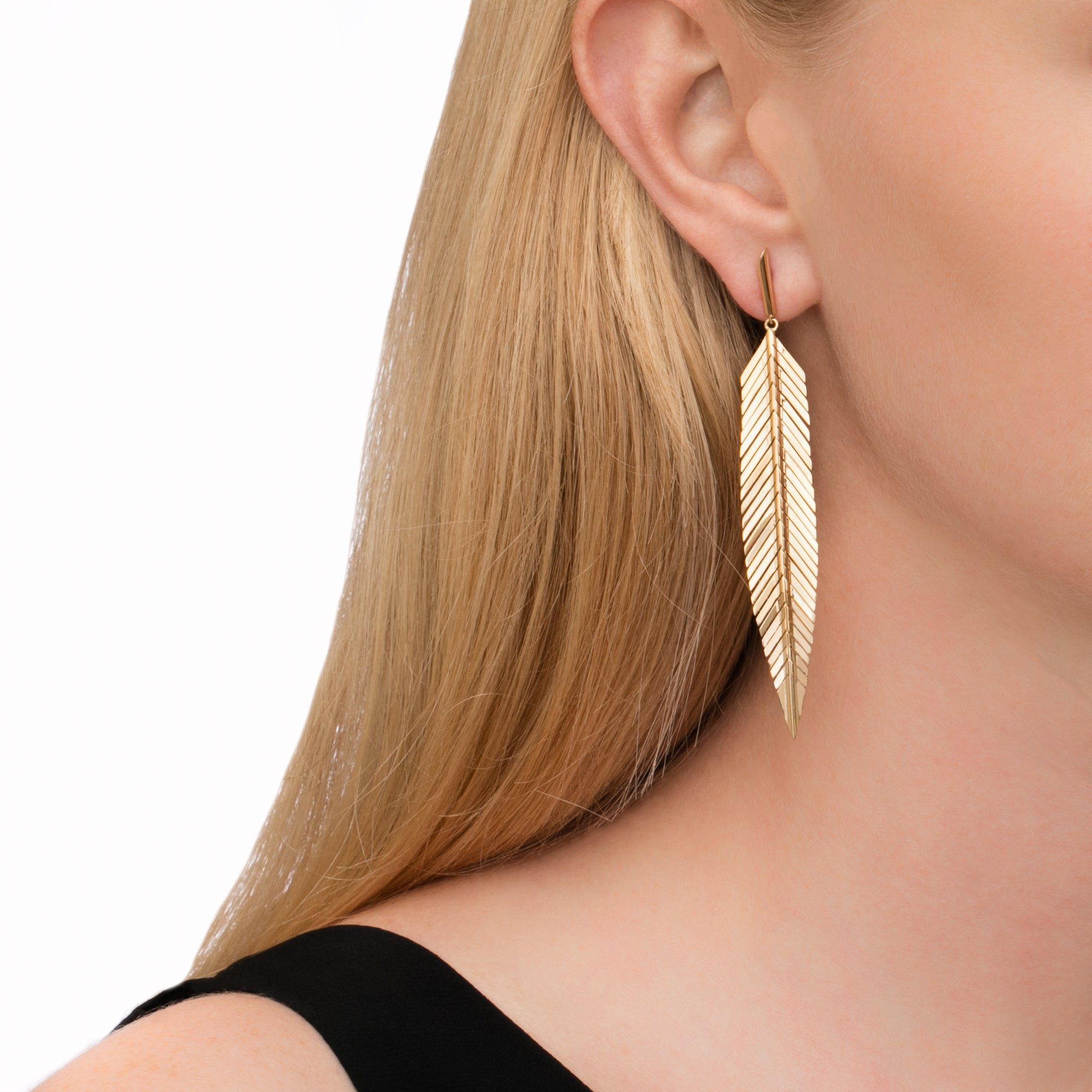 Medium Feather Earrings - Cadar - Earrings | Broken English Jewelry