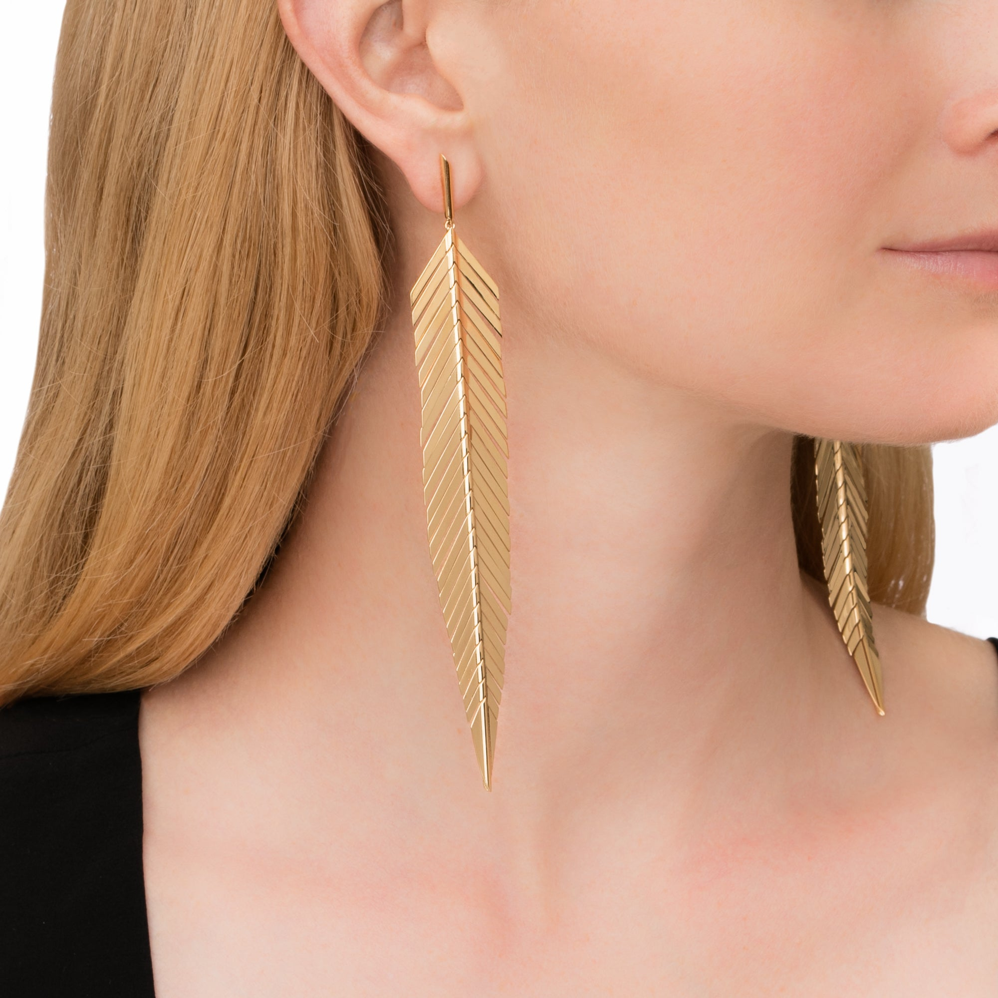 Large Feather Earrings - Cadar - Earrings | Broken English Jewelry