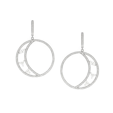 Pave Floating Crescent Hoops - Swati Dhanak - Earrings | Broken English Jewelry