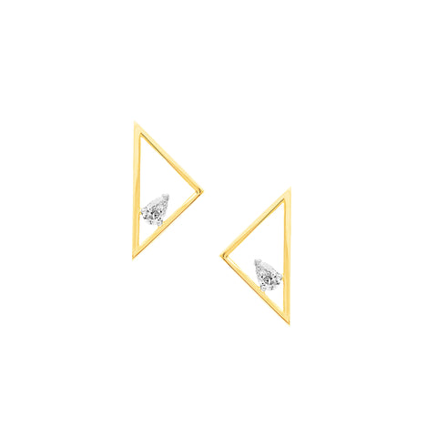 Floating Pear Triangle Earrings