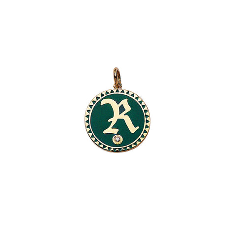 Green Enamel Initial Medallion