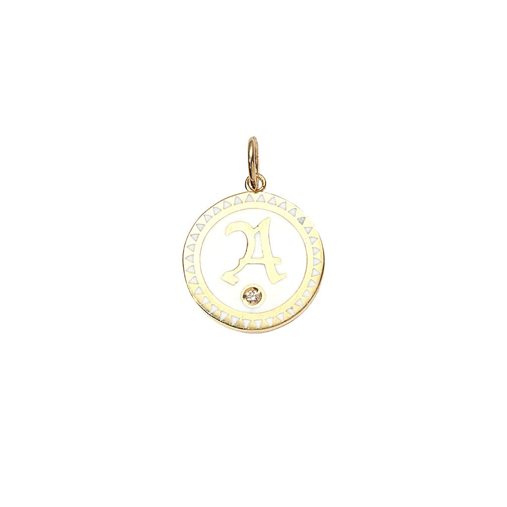 White Enamel Initial Medallion by Foundrae for Broken English Jewelry