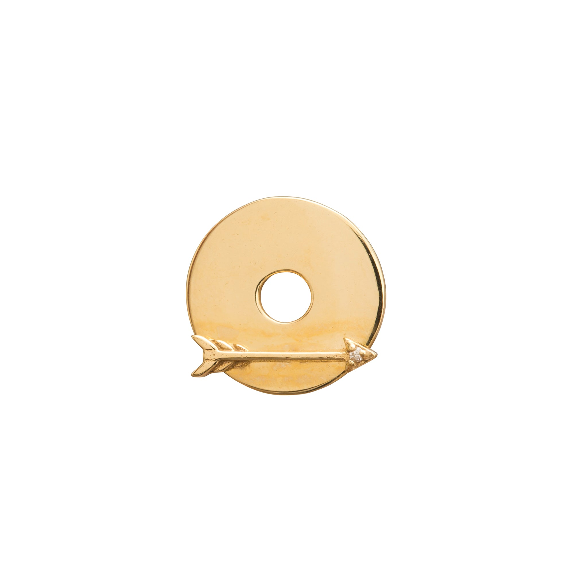 Gold Arrow Disk by Foundrae for Broken English Jewelry