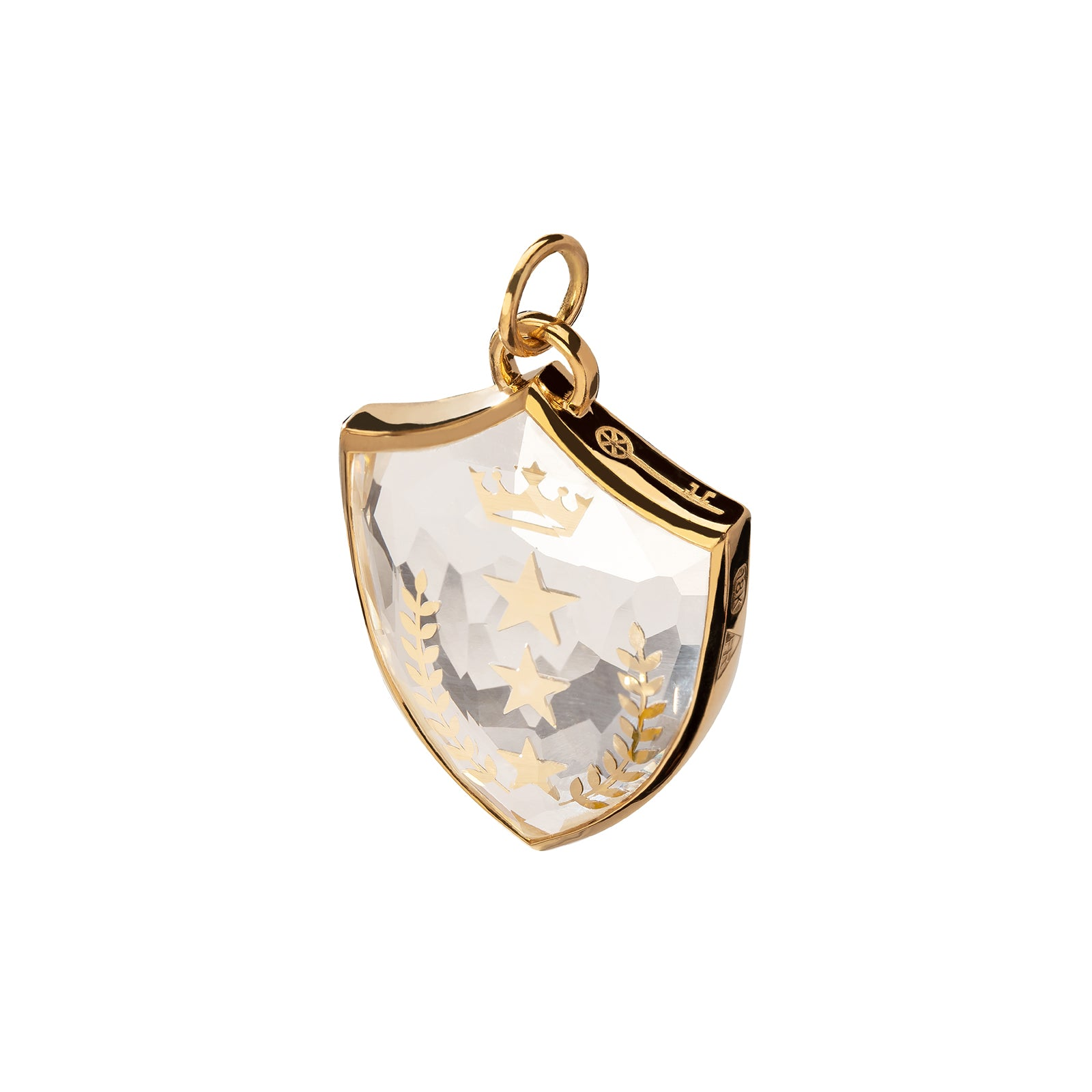 Foundrae Large Sealed Gemstone Crest Pendant - Per Aspera Ad Astra - Charms & Pendants - Broken English Jewelry