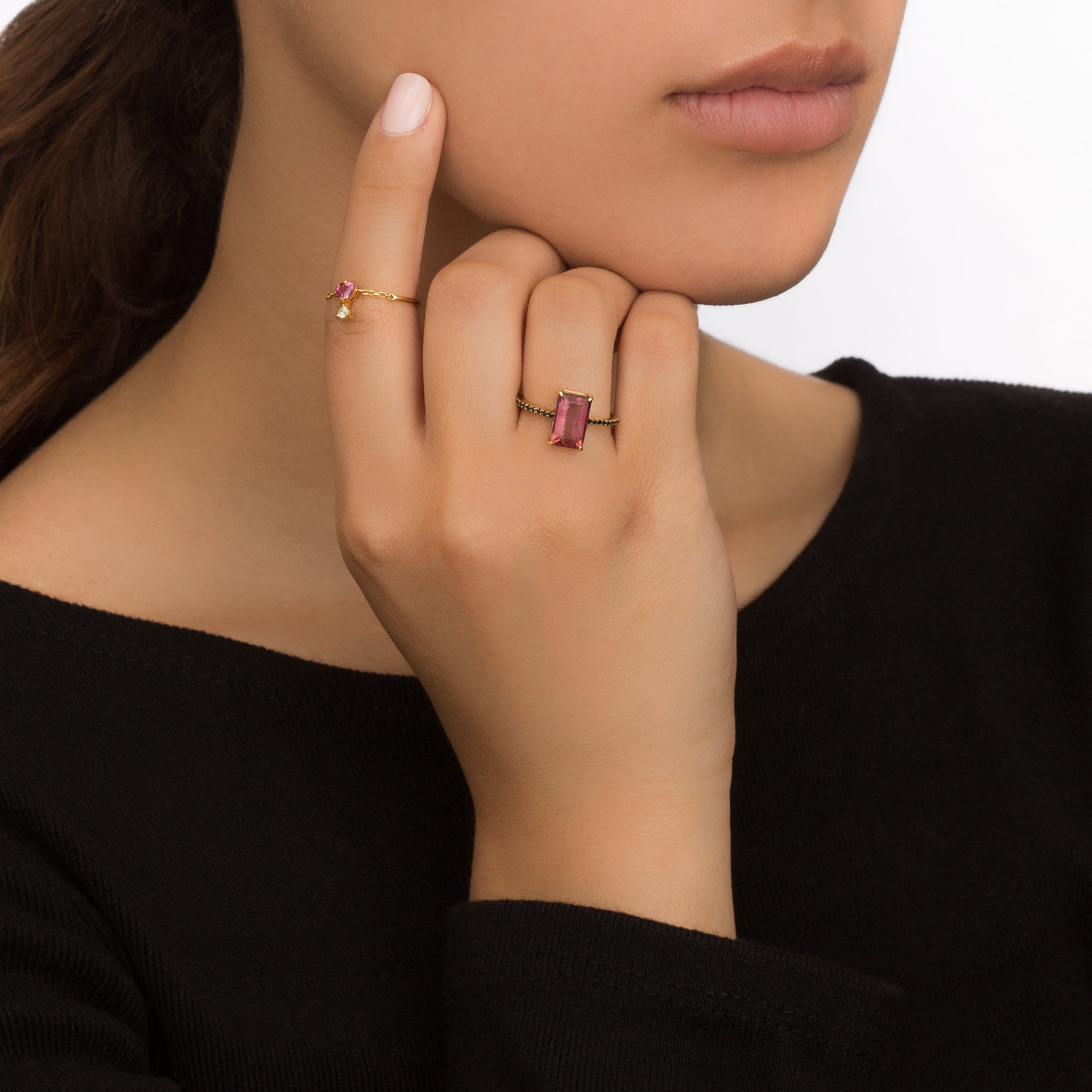 Spinel & Diamond Half Chain Ring by Yi Collection for Broken English Jewelry