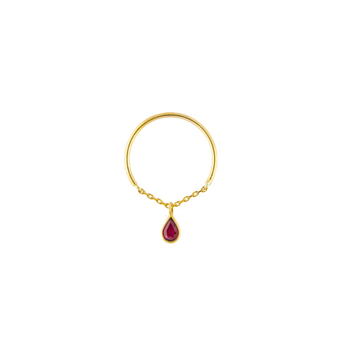 YI Collection Ruby Drop Half Chain Ring - Rings - Broken English Jewelry