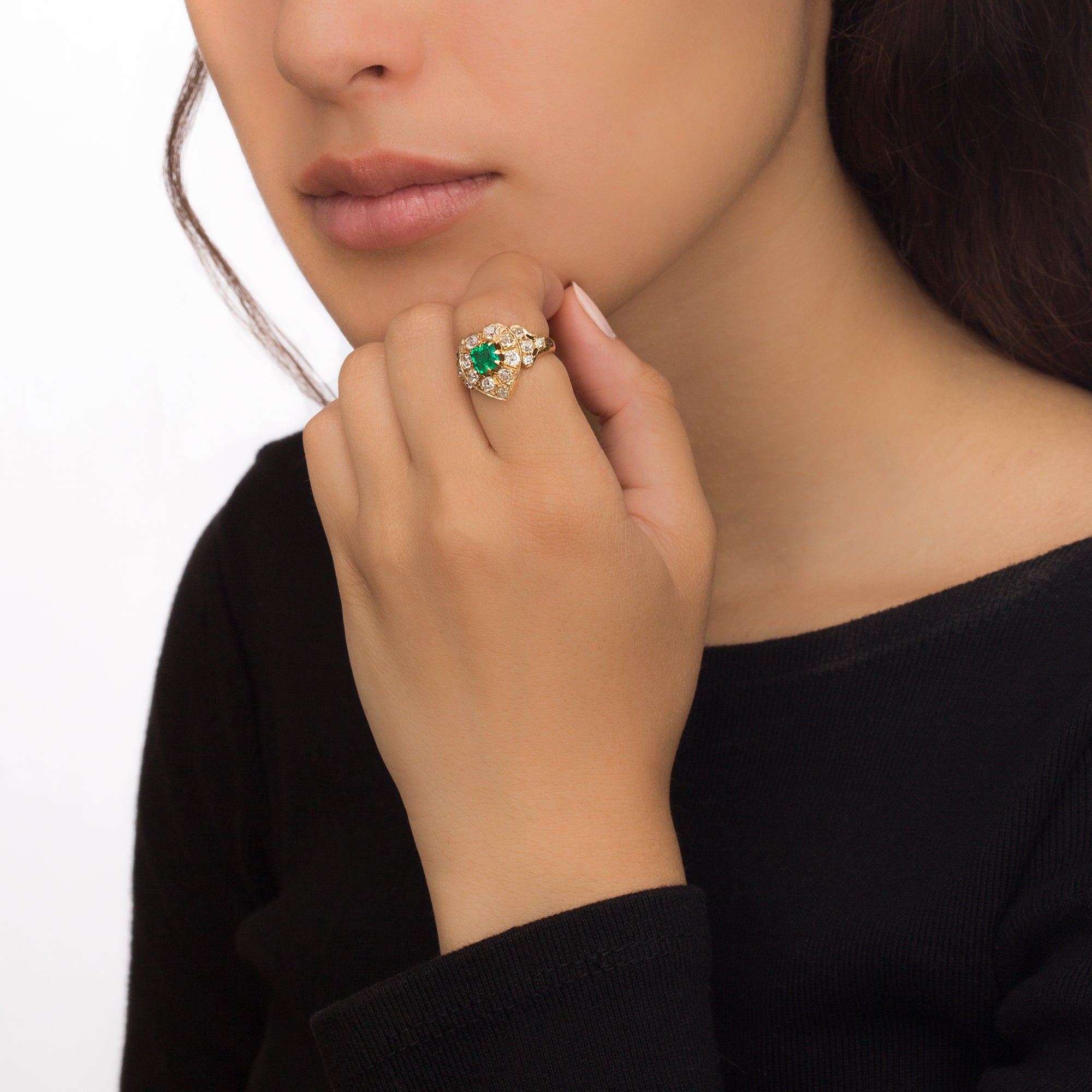 Emerald & Diamond Heart Ring - Vintage Jewelry - Rings | Broken English Jewelry