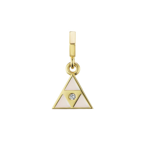 White Enamel Triangle Open Bale Charm