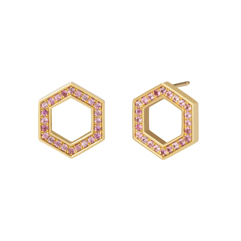 Pink Sapphire Hexagon Foundation Studs - Harwell Godfrey - Earrings | Broken English Jewelry