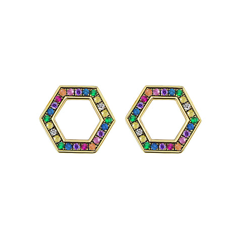 Rainbow Sapphire Hexagon Foundation Stud Earrings