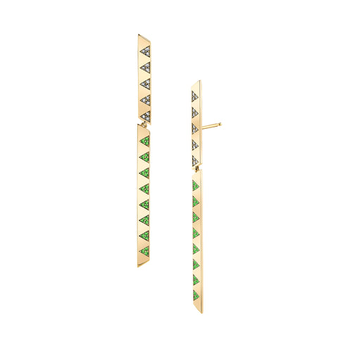 Articulated Diamond & Tsavorite Stick Earrings