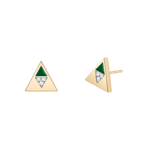 Green Enamel Diamond Triangle Studs
