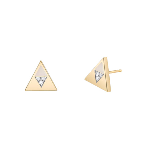 Lilac Enamel Diamond Triangle Studs