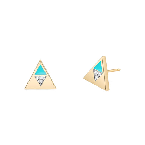 Turquoise Enamel Diamond Triangle Studs