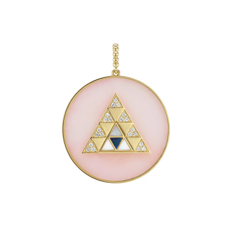 Pink Opal Stone Inlay Triangle Medallion