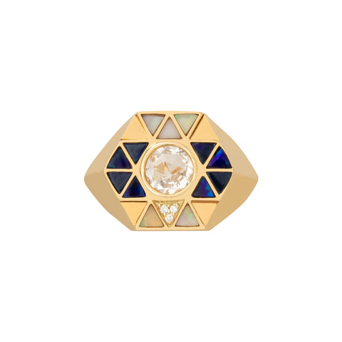 Elements Opal Inlay and Rock Crystal Pinky Ring  - Harwell Godfrey - Rings | Broken English Jewelry