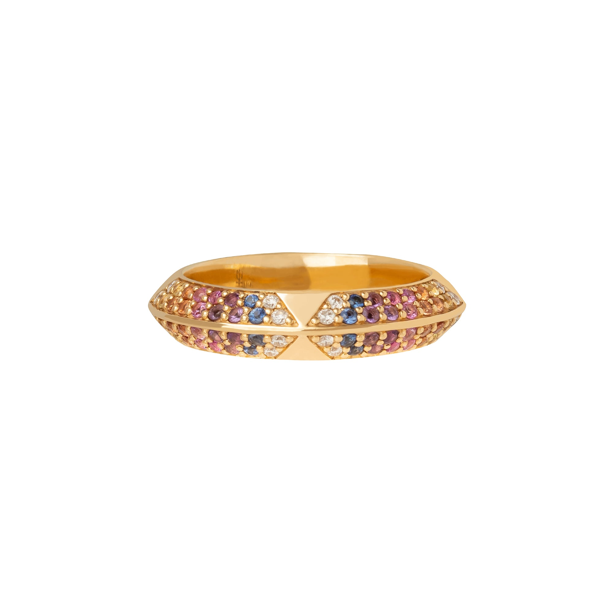 Rainbow Sapphire Pave Rosa Band - Harwell Godfrey - Rings | Broken English Jewelry