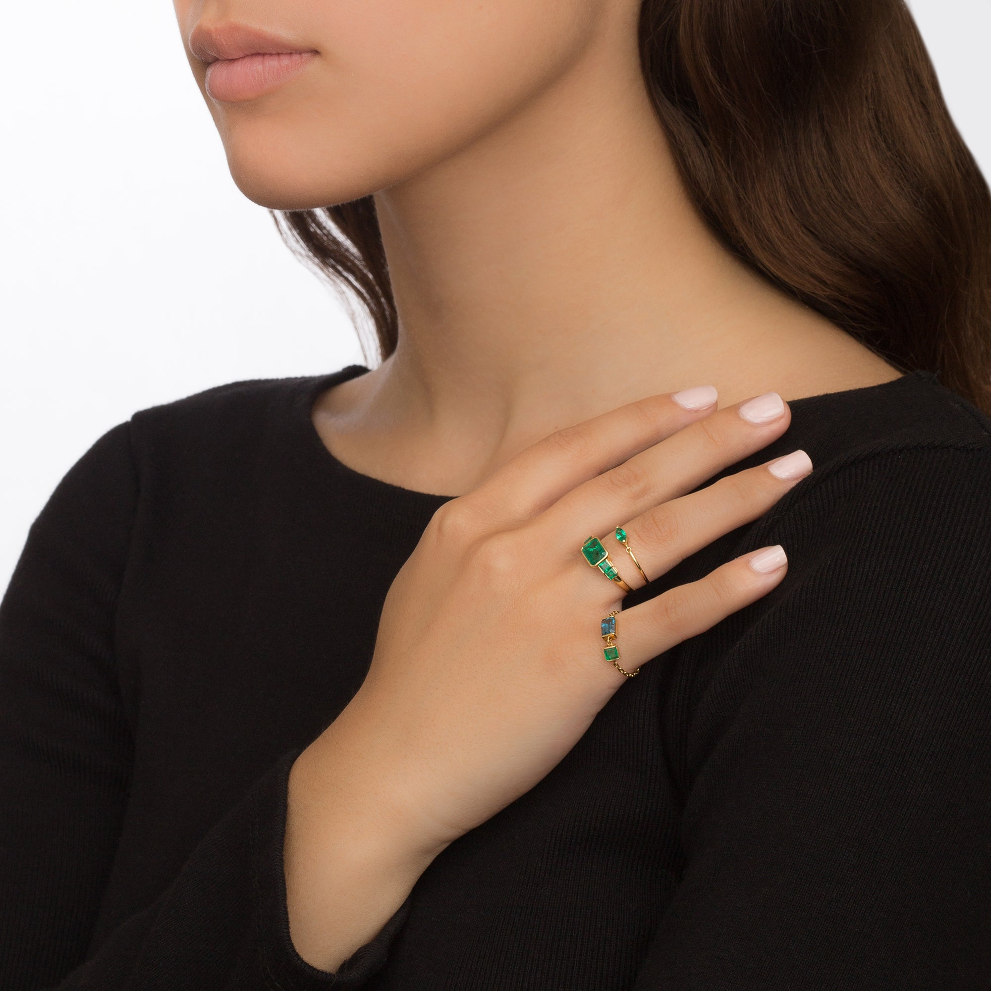 Five Emeralds Ring by Yi Collection for Broken English Jewelry