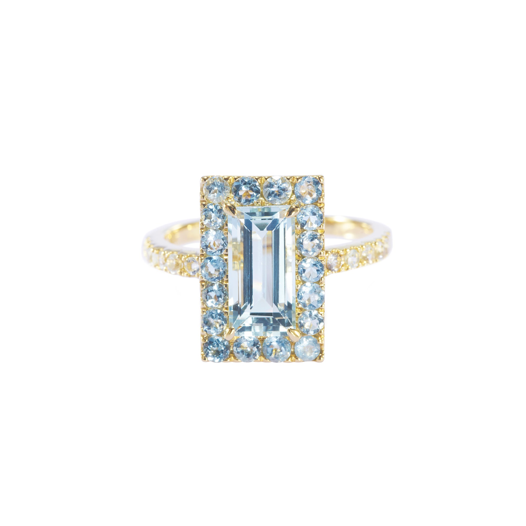 Aquamarine Tonal Deco Ring - YI Collection - Rings | Broken English Jewelry